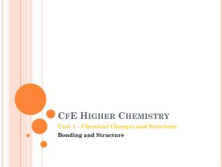 CfE  Higher Chemistry