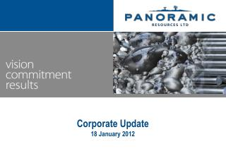 Corporate Update 18 January 2012
