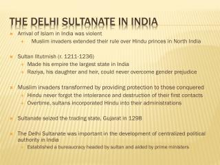 The Delhi sultanate in India