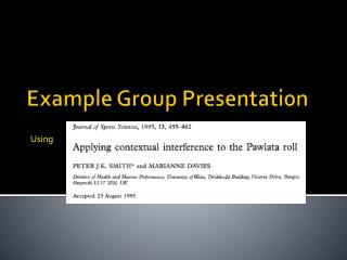 Example Group Presentation