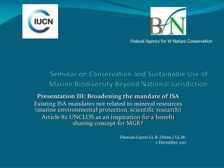 Seminar  on Conservation and Sustainable Use of Marine Biodiversity Beyond National Jurisdiction