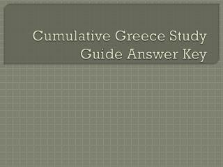 Cumulative Greece Study Guide Answer Key