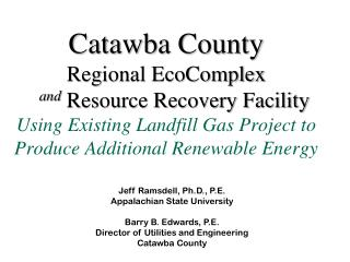 Jeff Ramsdell, Ph.D., P.E. Appalachian State University Barry B. Edwards, P.E.