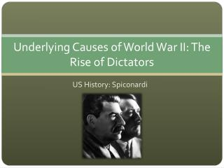 Underlying Causes of World War II: The Rise of Dictators