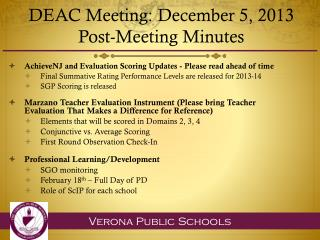 DEAC Meeting:  December 5, 2013 Post-Meeting Minutes