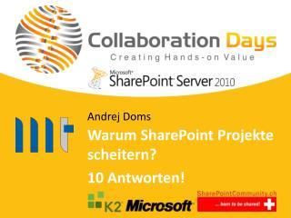 Warum  SharePoint  Projekte scheitern ? 10  Antworten !