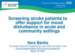 Screening stroke patients to offer support for mood disturbance in acute and community settings