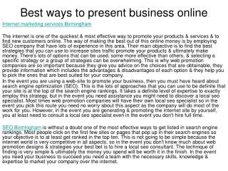 Best ways to present business online