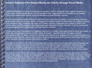Intranet Software Firm Raises Money for Charity through Soci