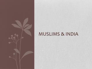 Muslims & India