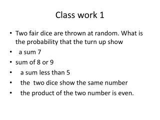 Class work 1