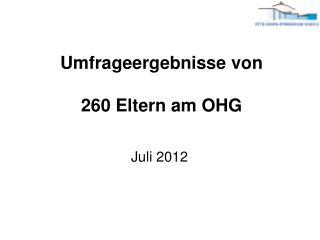 Umfrageergebnisse von 260 Eltern am OHG