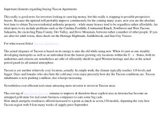 apartments tucson: Renting in a prosperous urban centre