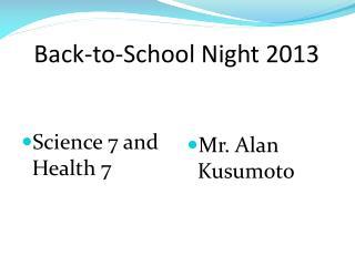 Back-to-School Night  2013