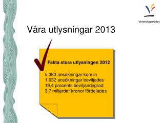 Våra utlysningar 2013