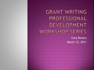 Grant writing professional development workshop series