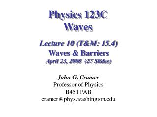 Physics 123C Waves