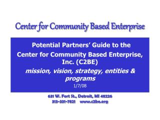 Center for Community Based Enterprise