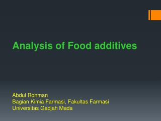Analysis of Food  additives
