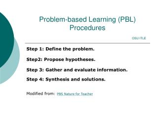 Problem-based Learning PBL Procedures n