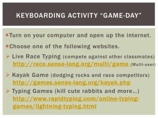 "Keyboarding Activity ""Game-Day"""