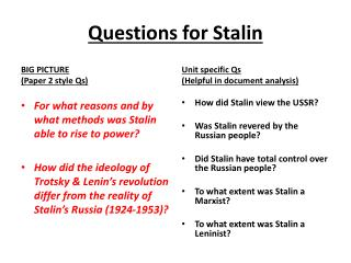 Questions  for Stalin