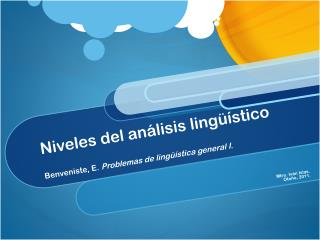Linguistica niveles de analisis