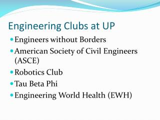 Engineering Clubs at UP