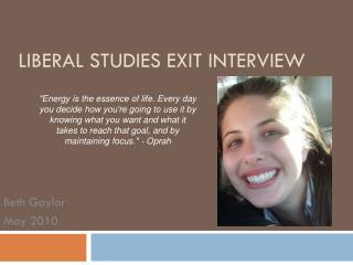 Liberal Studies Exit Interview