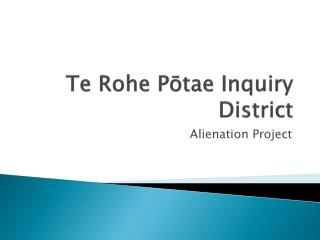 Te Rohe Potae Land Alienation Project