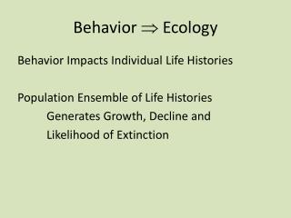 Behavior   Ecology
