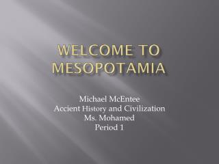 Welcome to Mesopotamia