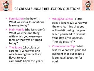 ICE CREAM SUNDAE REFLECTION QUESTIONS
