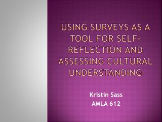 Using Surveys as a Tool for Self-Reflection and Assessing Cultural Understanding