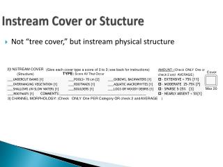 Instream  Cover or  Stucture
