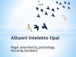Aštuoni intelekto  tipai Pagal amerikiečių psichologą  Hovardą Gardnerį