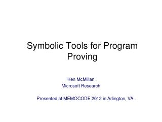 Symbolic Tools for Program Proving