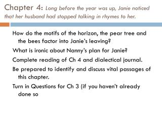How do the motifs of the horizon, the pear tree and the bees factor into Janie's leaving?
