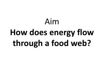 Aim How does energy flow through a food web?
