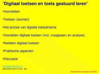 � Digitaal toetsen en toets gestuurd leren � Voorstellen Toetsen (soorten)