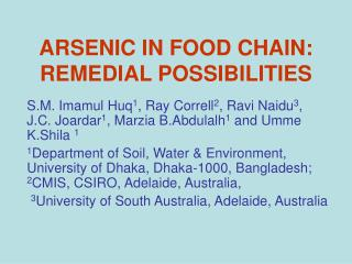 ARSENIC IN FOOD CHAIN: REMEDIAL POSSIBILITIES