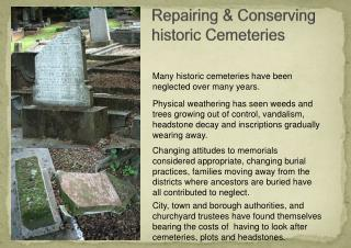 Repairing & Conserving historic Cemeteries