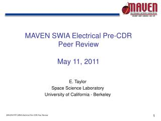 MAVEN  SWIA Electrical Pre-CDR  Peer  Review May  11, 2011