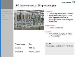 LPG measurement at BP propane gas