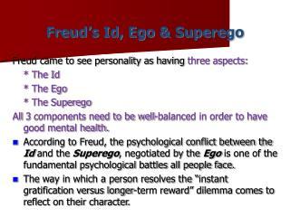 Freud's Id, Ego & Superego