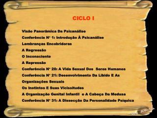 CICLO I Visão Panorâmica Da Psicanálise Conferência N   1: Introdução À Psicanálise