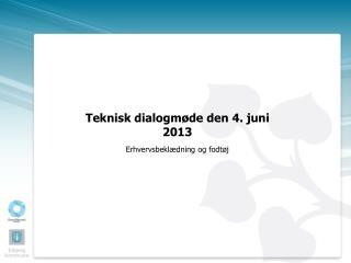 Teknisk dialogmøde den 4. juni 2013 Erhvervsbeklædning  og fodtøj