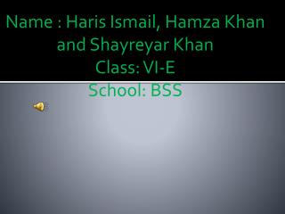 Name : Haris Ismail, Hamza Khan and Shayreyar Khan Class: VI-E School: BSS