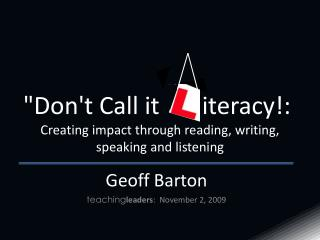 Geoff Barton teaching leaders :  November 2, 2009