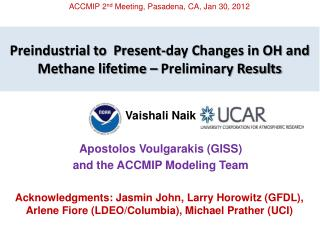 Preindustrial to  Present-day Changes in OH and Methane lifetime – Preliminary Results